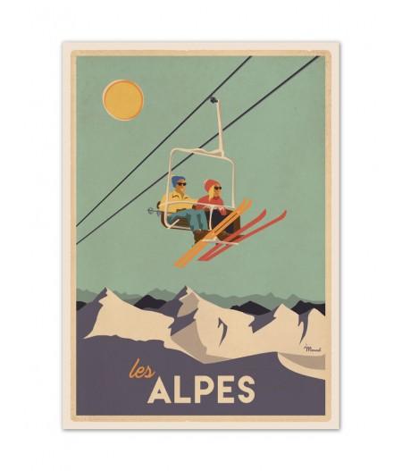 Affiches Marcel Small Edition - CLASSICS WINTER ALPES - Le Télésiège 30x40cm 350 g/m
