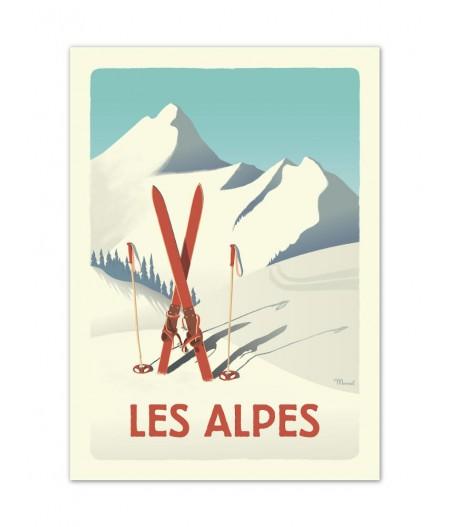 Affiches Marcel Small Edition - CLASSICS WINTER ALPES - Les Ski rouges 30x40cm 350 g/m