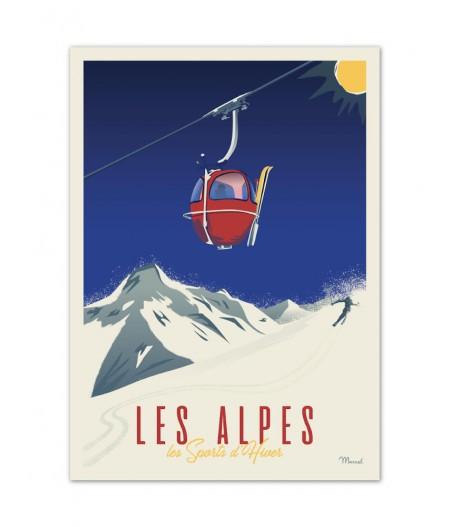 Affiches Marcel Small Edition - CLASSICS WINTER ALPES - La Télécabine 30x40cm 350 g/m