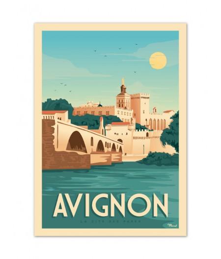 Affiches Marcel Small Edition - AVIGNON La Cité des Papes 30cm x 40cm 350 g/m
