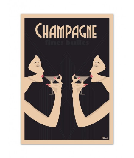 Affiches Marcel Small Edition - CHAMPAGNE Fines Bulles 30cm x 40cm 350 g/m