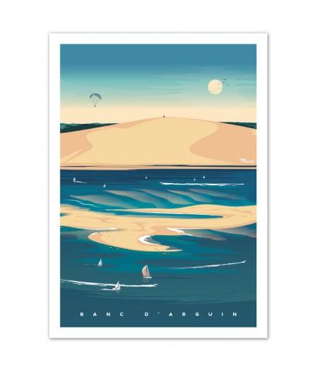 Affiches Marcel Small Edition - BASSIN DARCACHON Banc dArguin 30cm x 40cm 350 g/m²