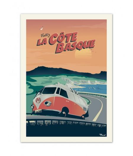 Affiches Marcel Small Edition - CÔTE BASQUE Van Corniche 30cm x 40cm 350 g/m²