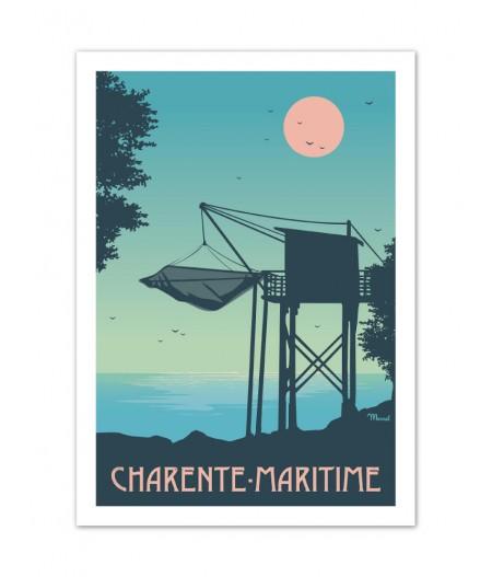 Affiches Marcel Small Edition - CHARENTE - MARITIME Le Carrelet 30cm x 40cm 350 g/m²