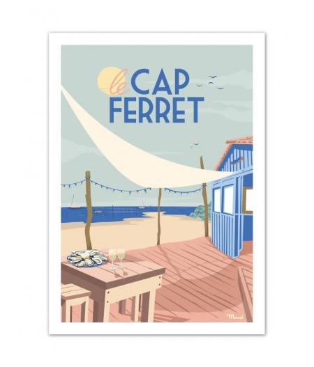 Affiches Marcel Small Edition - CAP FERRET Cabane à huîtres 30cm x 40cm 350 g/m²