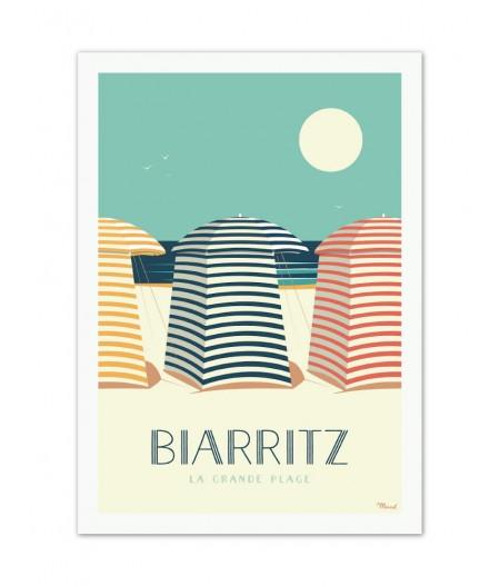 Affiches Marcel Small Edition - BIARRITZ Les Tentes 30cm x 40cm 350 g/m²