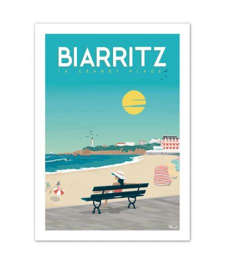Affiches Marcel Small Edition - BIARRITZ La Grande Plage 30cm x 40cm 350 g/m²