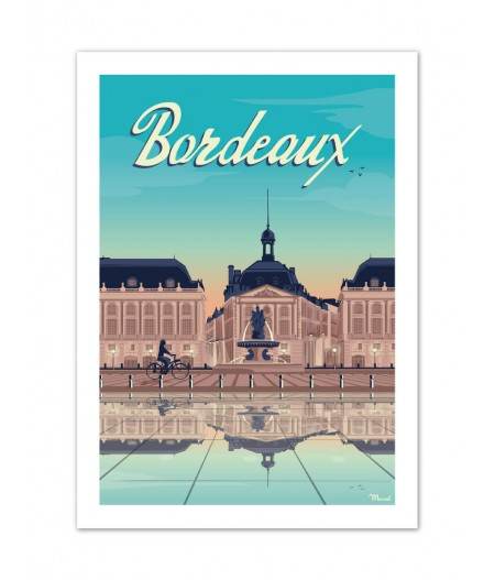 Affiches Marcel Small Edition - BORDEAUX Place de la Bourse 30cm x 40cm 350 g/m²
