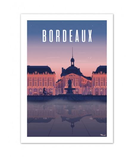 Affiches Marcel Small Edition - BORDEAUX Place de la Bourse by night 30cm x 40cm 350 g/m²