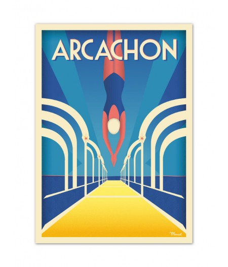 Affiches Marcel Small Edition - ARCACHON Jetée Thiers 30cm x 40cm 350 g/m²