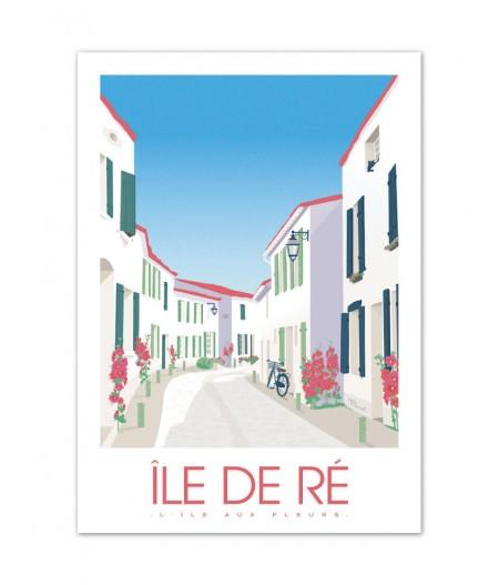 Affiches Marcel Small Edition - ILE DE RE Lïle aux fleurs 30cm x 40cm 350 g/m²
