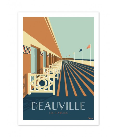 Affiches Marcel Small Edition - DEAUVILLE Les Planches 30cm x 40cm 350 g/m²