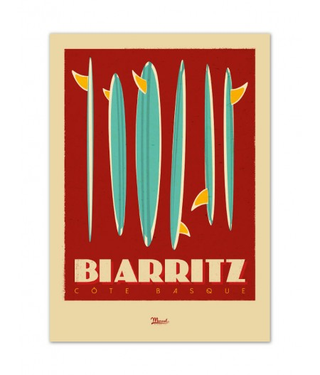 Affiches Marcel Small Edition - BIARRITZ Surfboards 30cm x 40cm 350 g/m²
