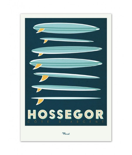 Affiches Marcel Small Edition - HOSSEGOR Surfboards 30cm x 40cm 350 g/m²