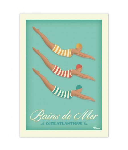 Affiches Marcel Small Edition - BAINS DE MER Côte atlantique 30cm x 40cm 350 g/m²