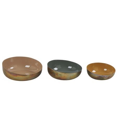 Plats Creux Colors S/3 Moutarde/Mousse/Sienne D36xH12.5cm - Athezza