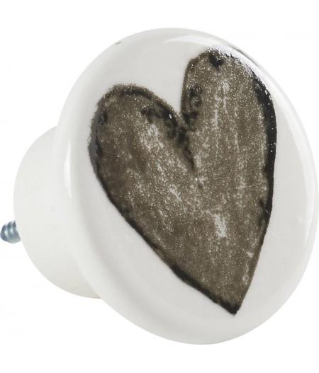 Bouton poignée de porte - Coeur Porcelaine D5cm - Athezza