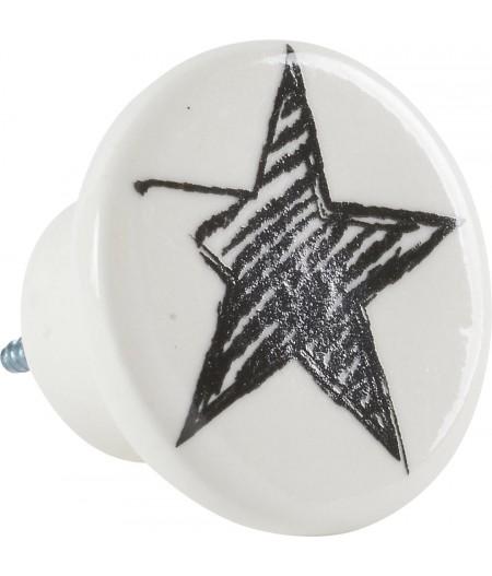 Bouton Etoile Porcelaine D5cm - Athezza