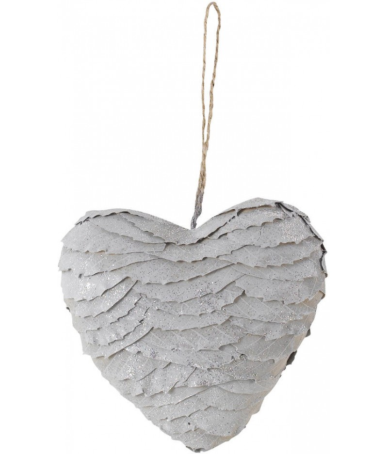 Coeur Feuilles Gris Pailleté 17cm - Athezza