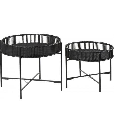 Tables Plateau Bambou Noires S/2 D60xH49cm - Athezza