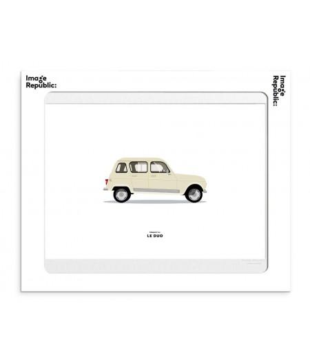 30x40 cm Le Duo Voiture Renault 4L Beige - Affiche Image Républic