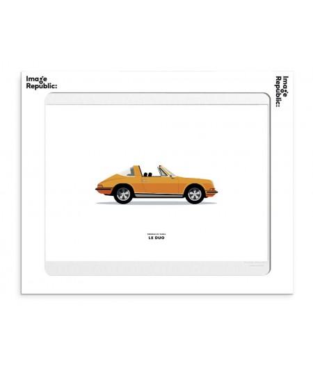 30x40 cm Le Duo Voiture Porsche 911 Targa Orange - Affiche Image Républic