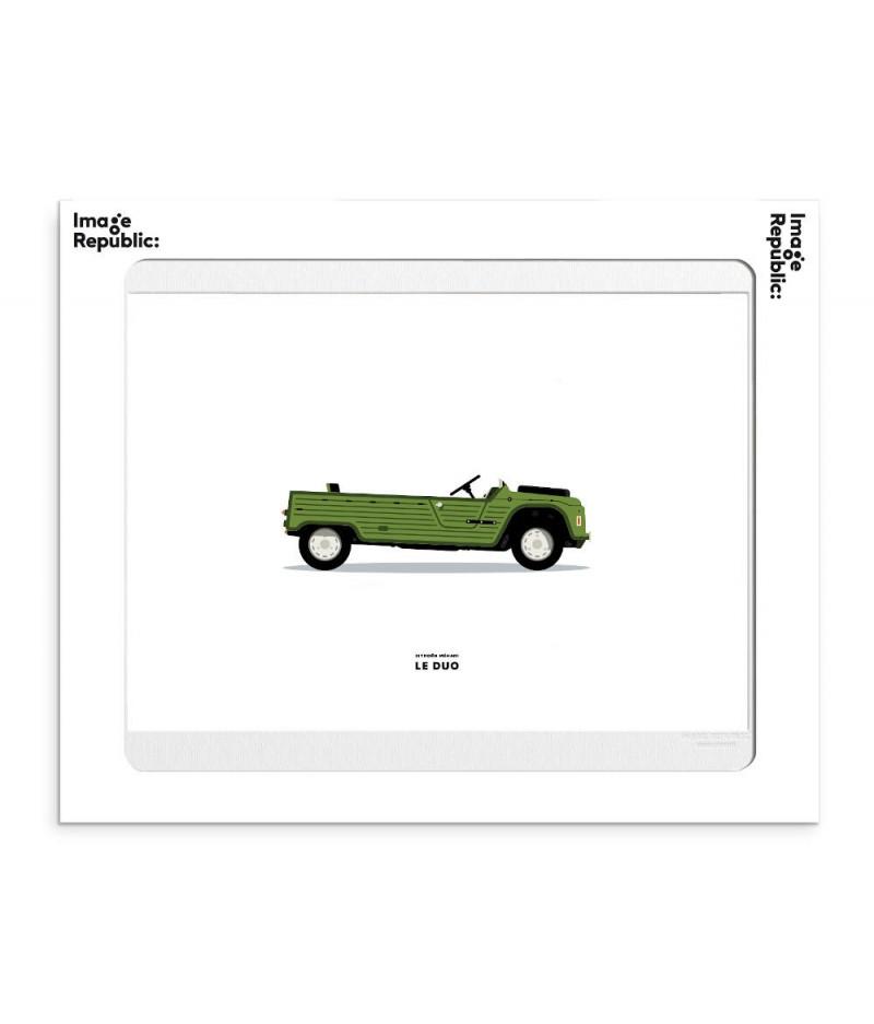 30x40 cm Le Duo Voiture Citroen Mehari Verte - Affiche Image Républic