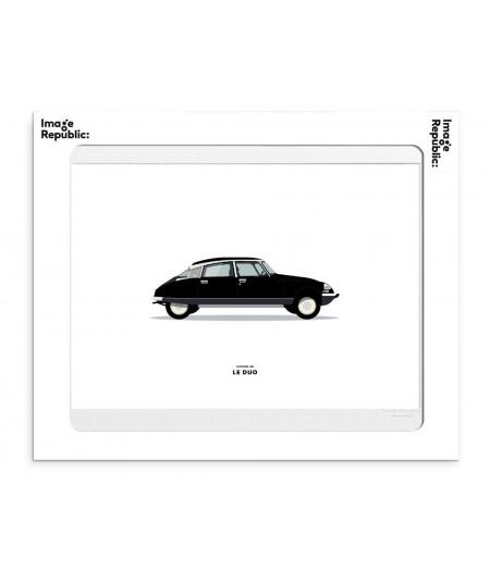 30x40 cm Le Duo Voiture Citroen DS Noire - Affiche Image Républic