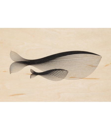 Cartes Postales en bois Woodhi - Animals Whale