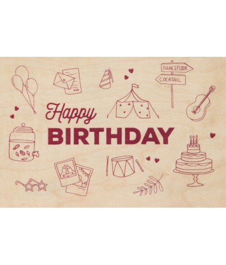 Cartes Postales en bois Woodhi - Greetings Birthday