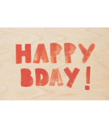 Cartes Postales en bois Woodhi - Painted Words Hbday Orange