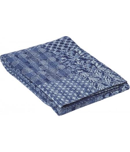 Boutis Réversible Bleu 220x270cm – Athezza Dessus de lit en boutis