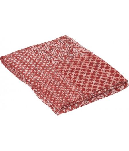 Boutis Réversible Rouge 220x270cm – Athezza Dessus de lit en boutis