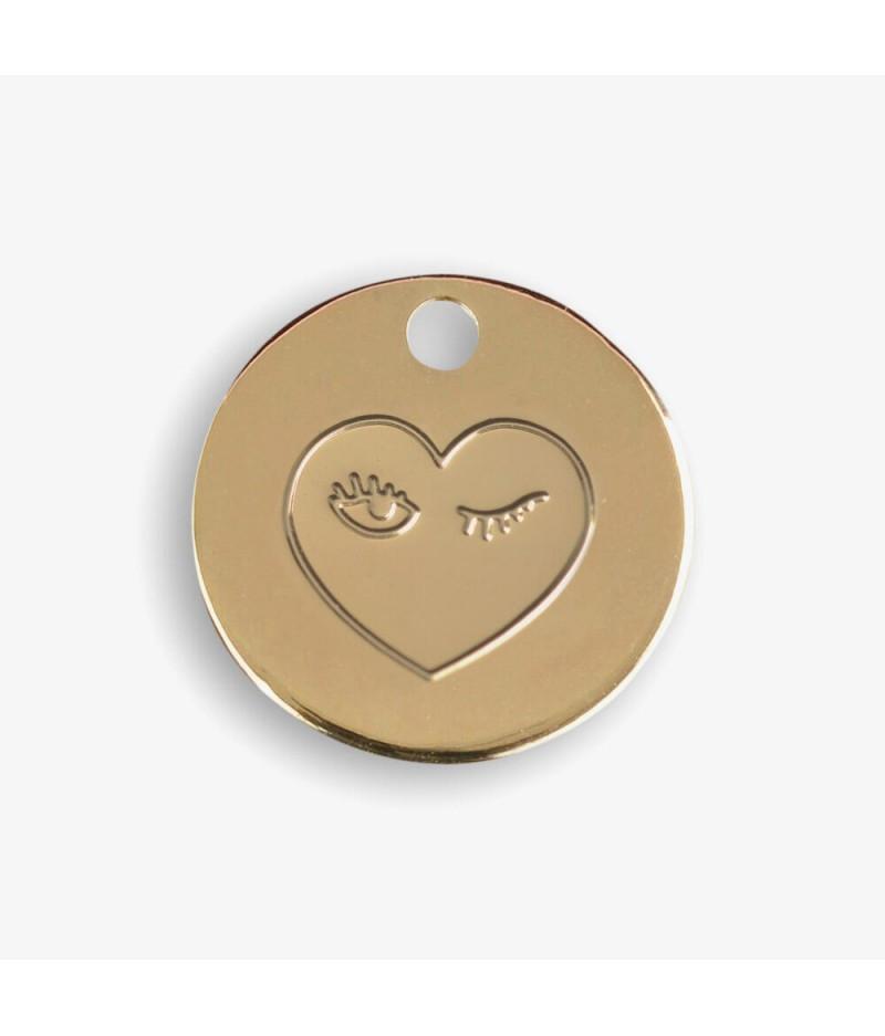 Médaille dorée Coeur clin d'oeil - Le Bijou de Mimi