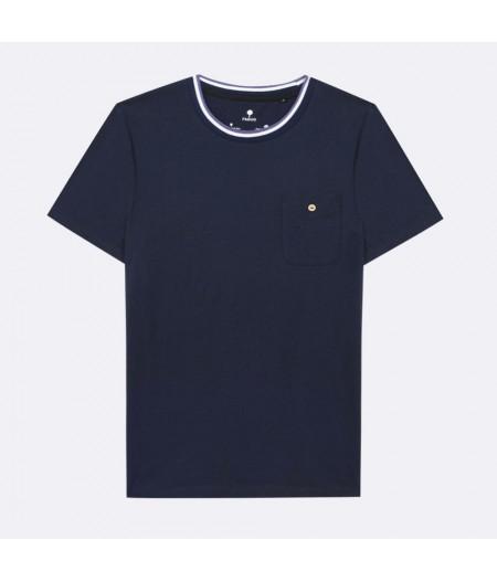 Olonne T-Shirt Cotton Poche boutonnée col violet - NAV00 - Faguo