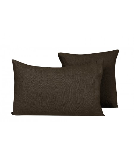 Coussin en lin Propriano brownie 60 Harmony 45x45 cm