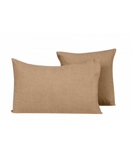 Coussin en lin Propriano camel Harmony 45x45 cm