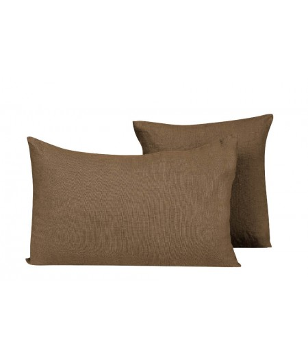 Coussin en lin Propriano tabac 61 Harmony 45x45 cm