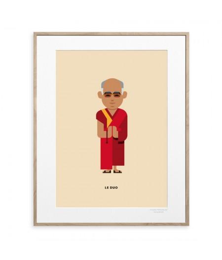 10.5x15 Le Duo Dalai Lama Peacemakers - Carte Postale double avec enveloppe - Image Republic