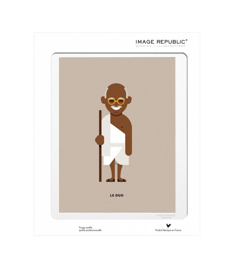 10.5x15 Le Duo Gandhi Peacemakers - Carte Postale double avec enveloppe - Image Republic