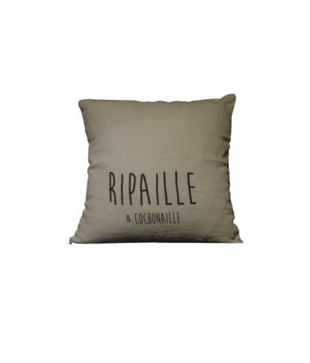 Coussin en lin 45x45cm Ripaille & Cochonaille by L'Ornitho