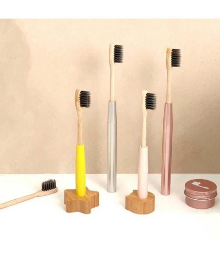 Brosse à dents complète enfant rechargeable, avec socle en bois - Jaune - Cookut