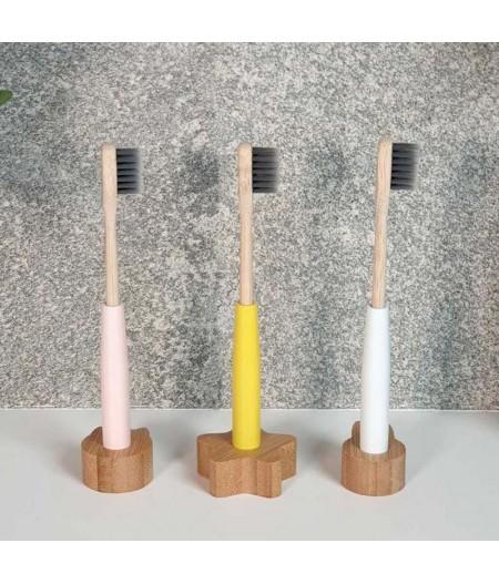 Brosse à dents complète enfant rechargeable, avec socle en bois - Rose - Cookut