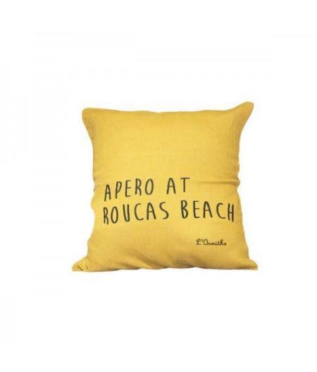 Coussin en lin 45x45cm Apero at Roucas Beach by L'Ornitho
