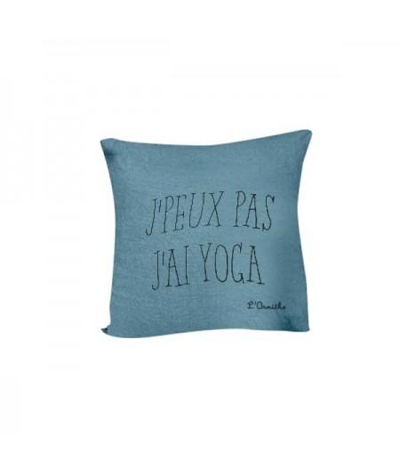 Coussin en lin 45x45cm J'PEUX PAS J'AI YOGA by L'Ornitho