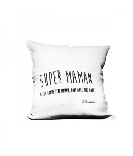 Coussin en lin 45x45cm Super Maman by L'Ornitho