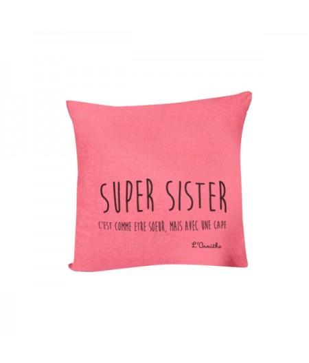 Coussin en lin 45x45cm Super Sister by L'Ornitho