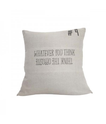 Coussin en lin 45x45cm Whatever you think, Think the opposite by L'Ornitho