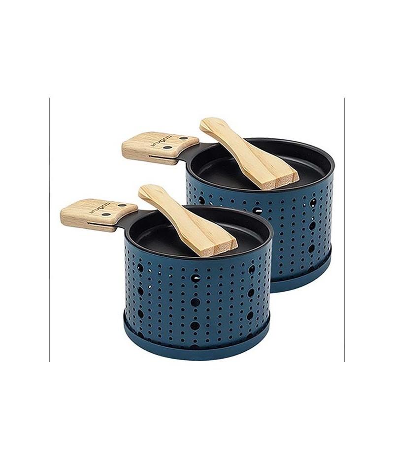 Service à raclette individuel pour 2 personnes BLEU (NOUVEAUTES 2020) -  Cookut