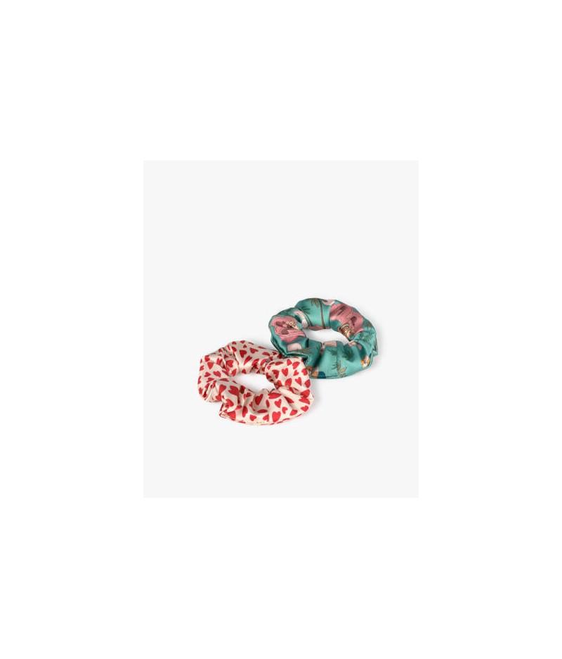 Chouchous White Hearts & Sahara - WOUF - Hair Scrunchies